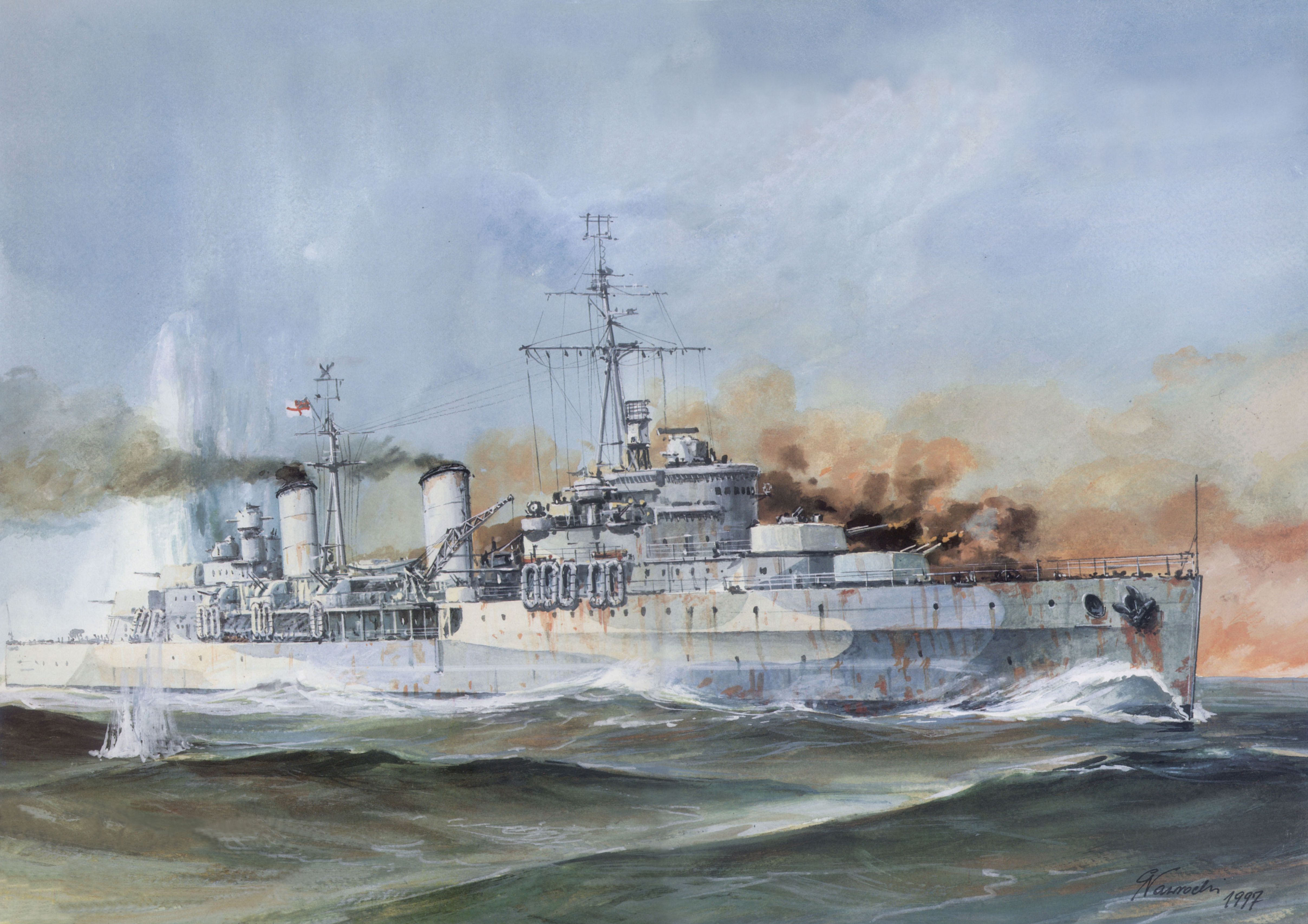 Images HMS Belfast Ships Painting Art military 4831x3412 4831x3412
