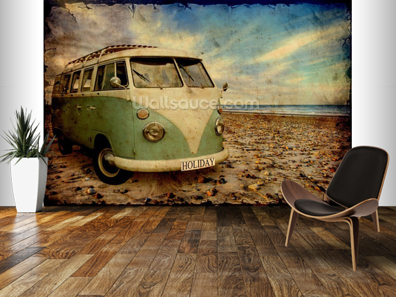 Green VW Camper on the Beach wallpaper mural room setting 573x430