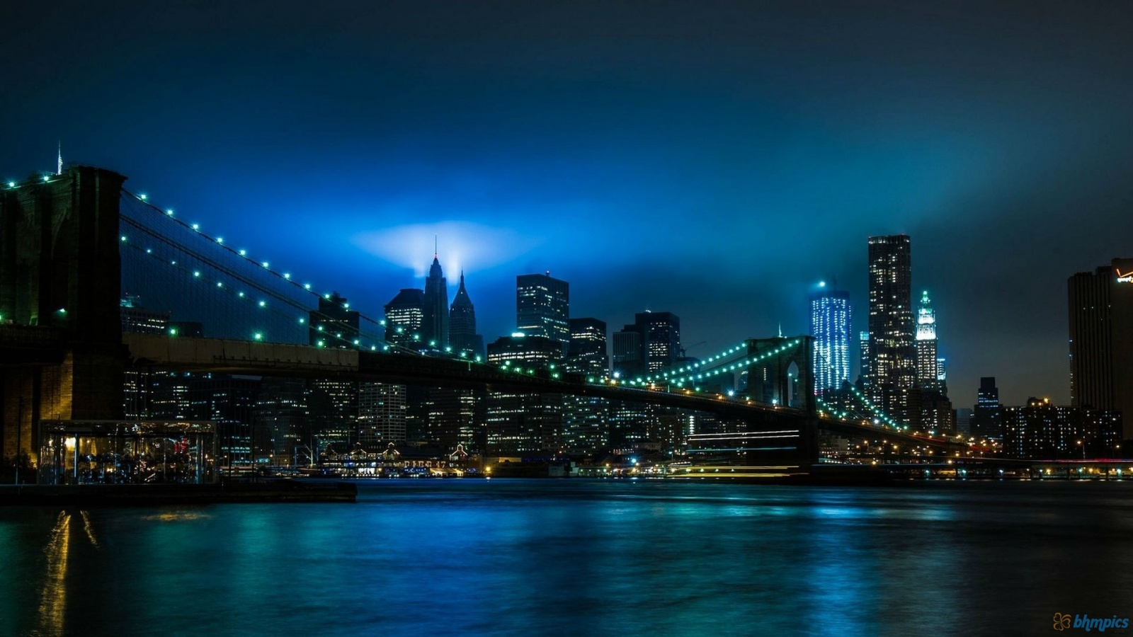 New York Blue Night And Bridge Lights 1600x900 2572 HD Wallpaper Res 1600x900