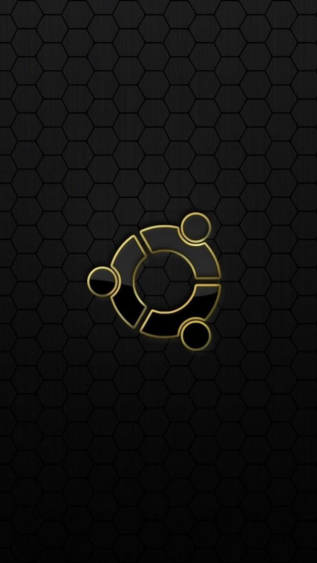 ubuntu os logo black yellow iphone wallpaper tags black logo os ubuntu 640x1136