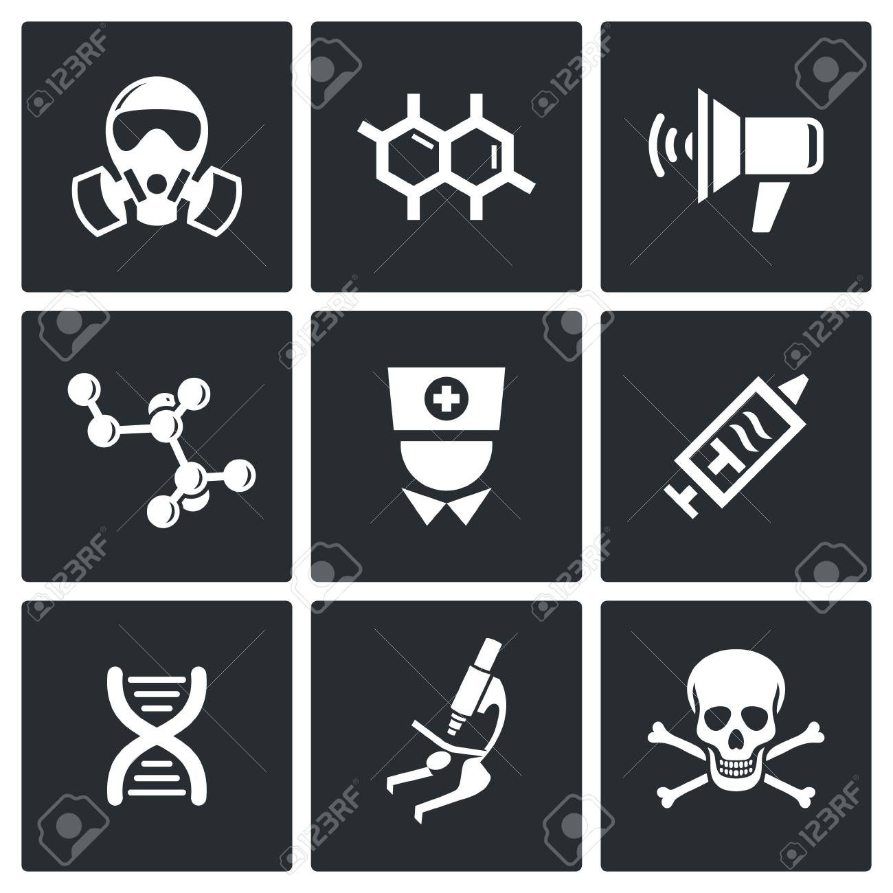 Ebola Icon Collection On A Black Background Royalty Cliparts 1300x1300