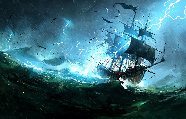 Wallpaper The ocean Sea Lightning Ship Storm Concept Art 1332x850