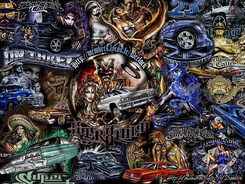 Lowrider arte wallpapers wallpapersafari for Aztec mural tattoos