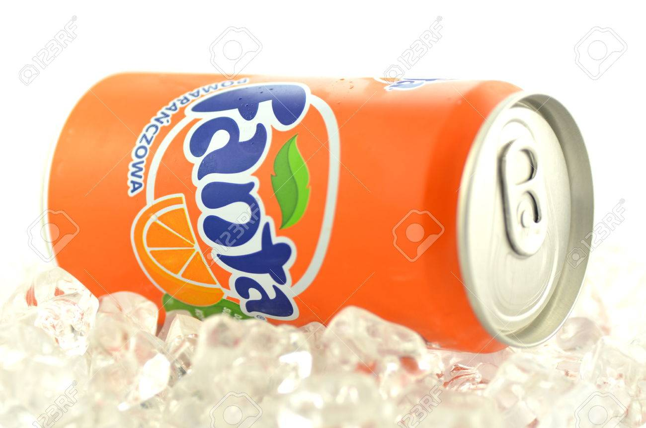 Fanta Drink In A Can On Ice Isolated On White Background Stock 1300x861