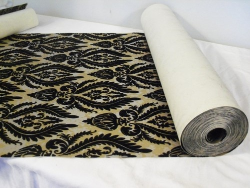 VTG Black Flocked Gold Silver Brocade Wallpaper Double Roll 50 S 500x375