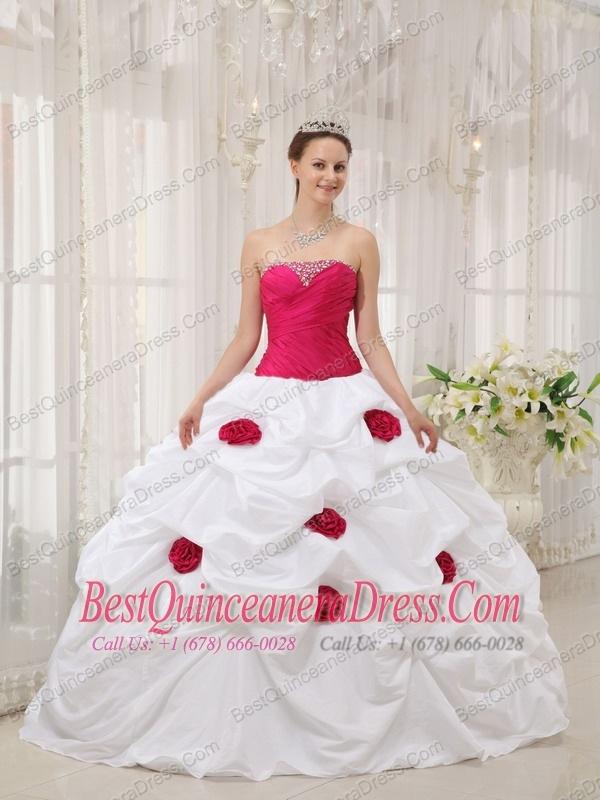 gown strapless taffeta hand made flowers quinceanera dress p 237html 600x800