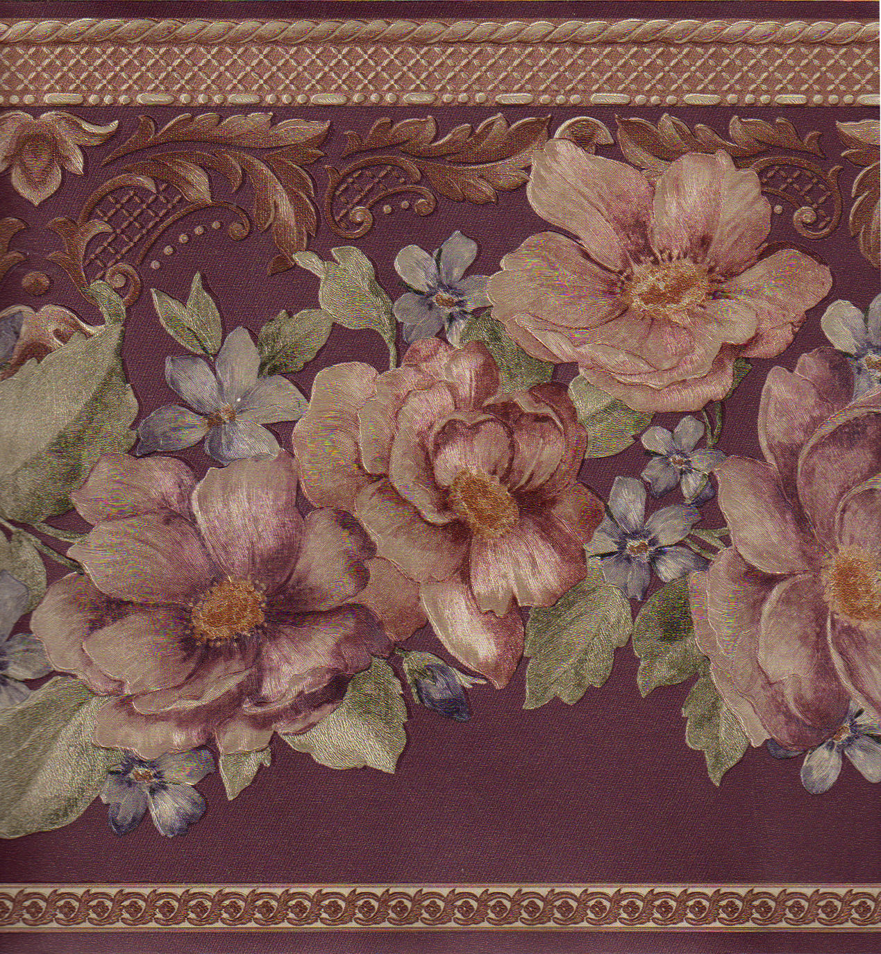 Burgundy Reflective Gold Silk Rose Flower Floral Wall paper Border 1269x1374