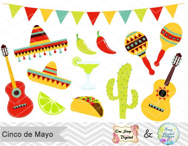 Digital Mexican Fiesta Clip Art Cinco de Mayo Digital 600x464