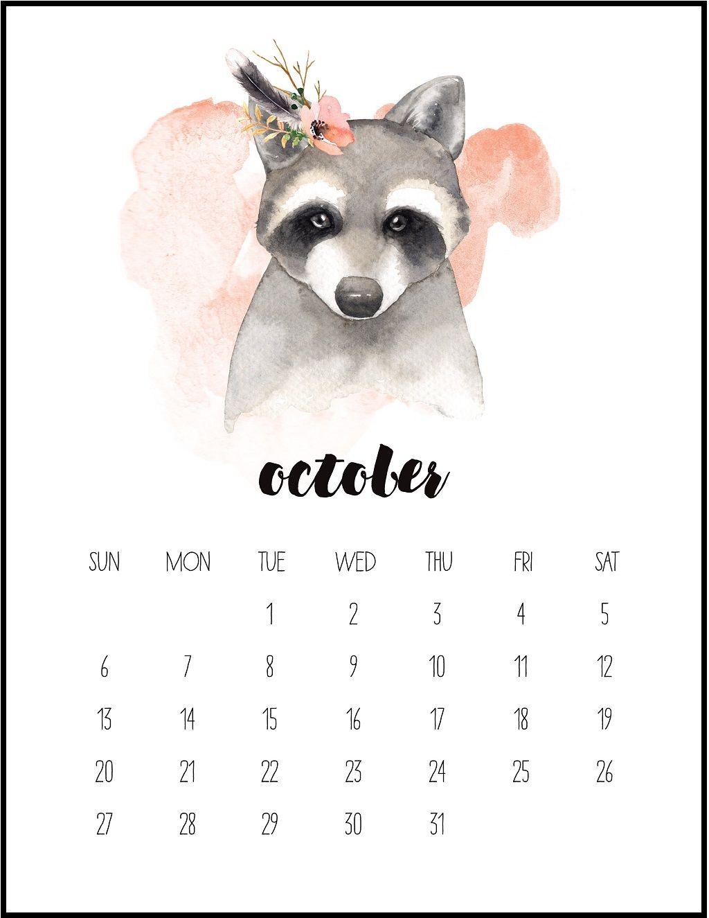 Watercolor October 2019 Printable Calendar Calendar 2019 1024x1325