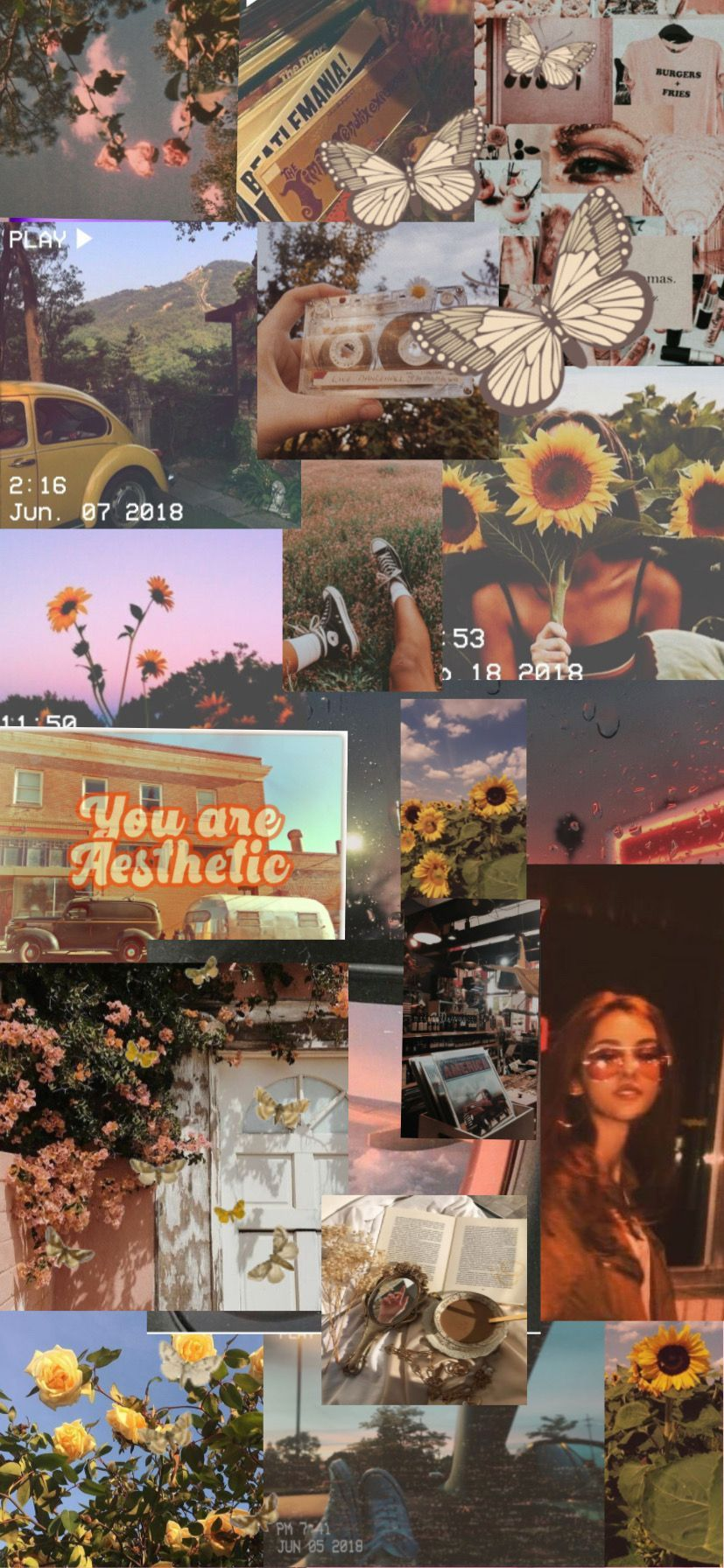 Vintage aesthetic Collage wallpaper Hipster wallpaper Aesthetic 827x1792