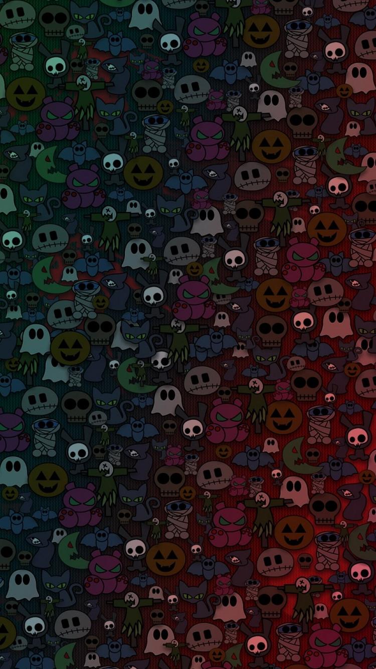 Cute Halloween Monsters Pattern iPhone 6 Wallpaper iPod Wallpaper HD 750x1334