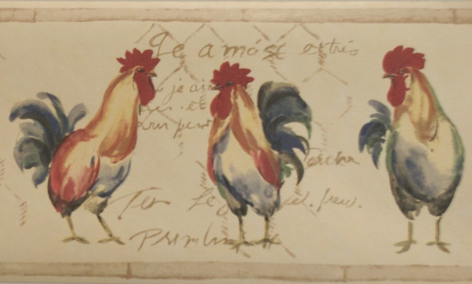 FRENCH ROOSTERS WALLPAPER BORDER   10C11   VG8401B 919x553