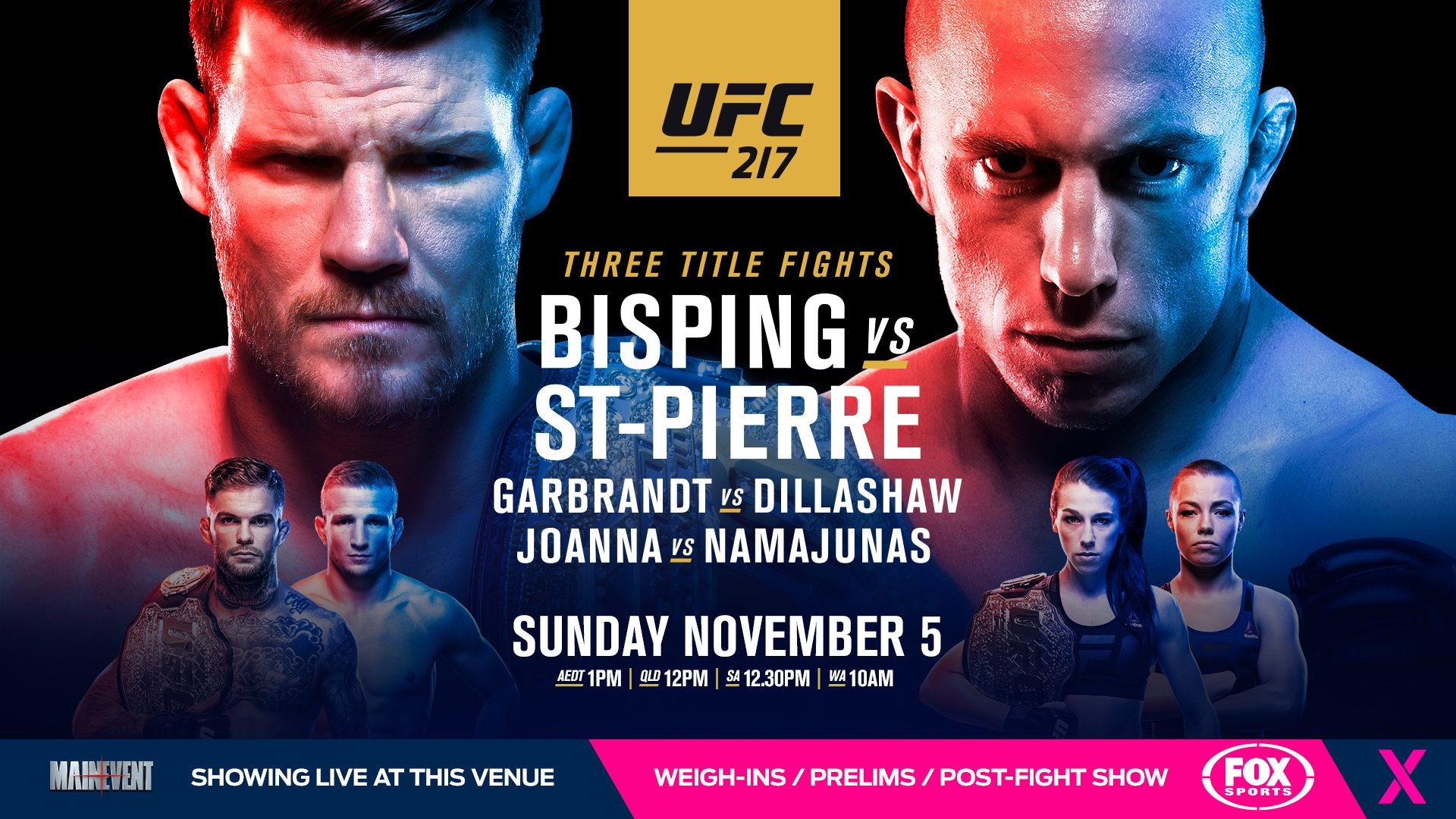UFC 217 Bisping vs St Pierre   Red Cow Hotel 1920x1080
