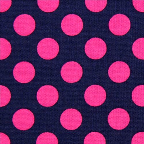 navy blue dot fabric with pink polka dots by Michael Miller   Fabric 500x500