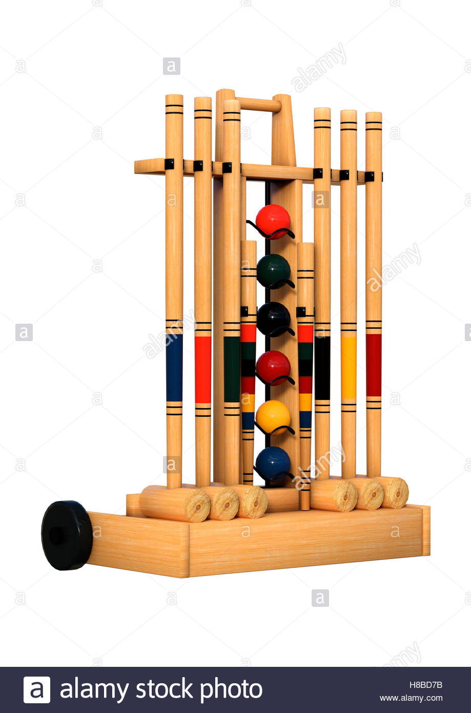 3D rendering of a croquet stand isolated on white background Stock 919x1390