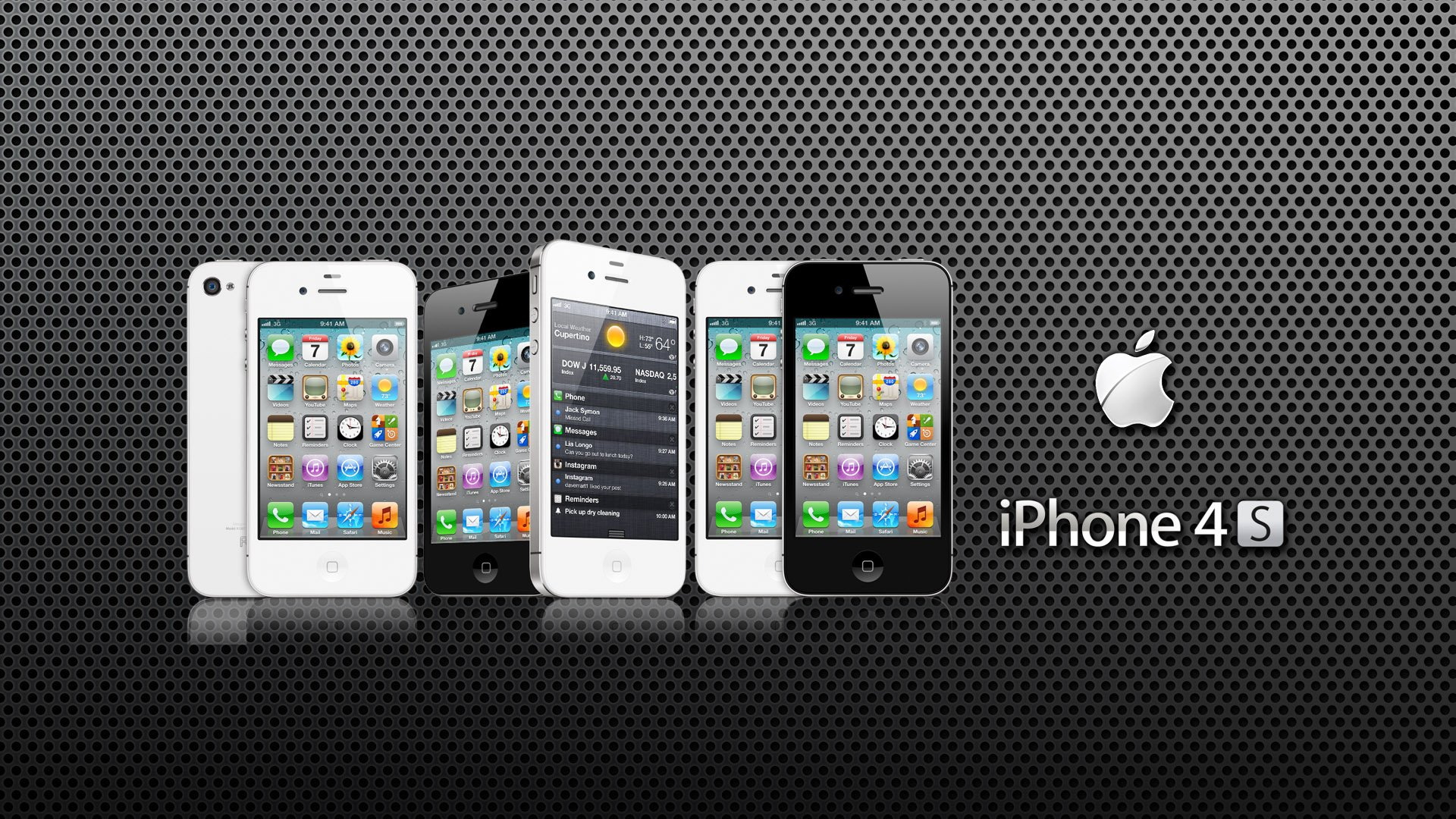 iphone 4s apple logo dark 1920x1080