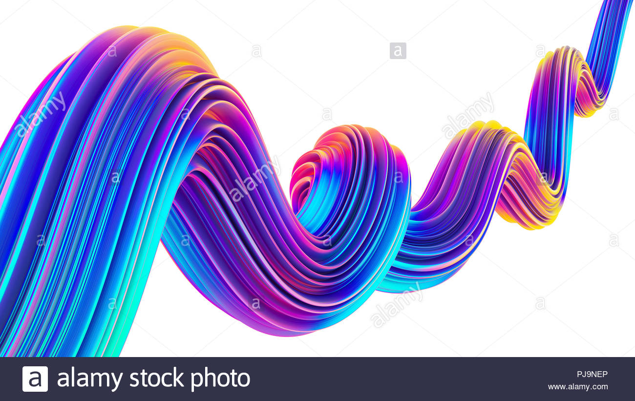 3D Liquid design twisted shape in holographic neon colors for 1300x821