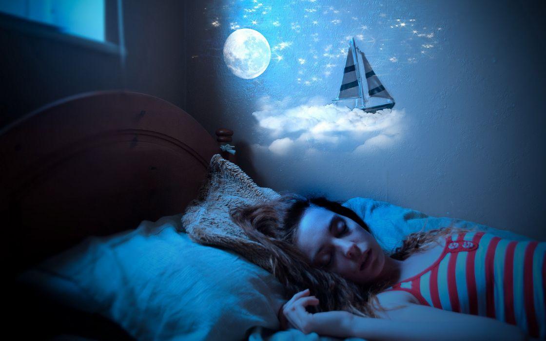 Night kids dreams sleeping bedroom little girl wallpaper 1120x700