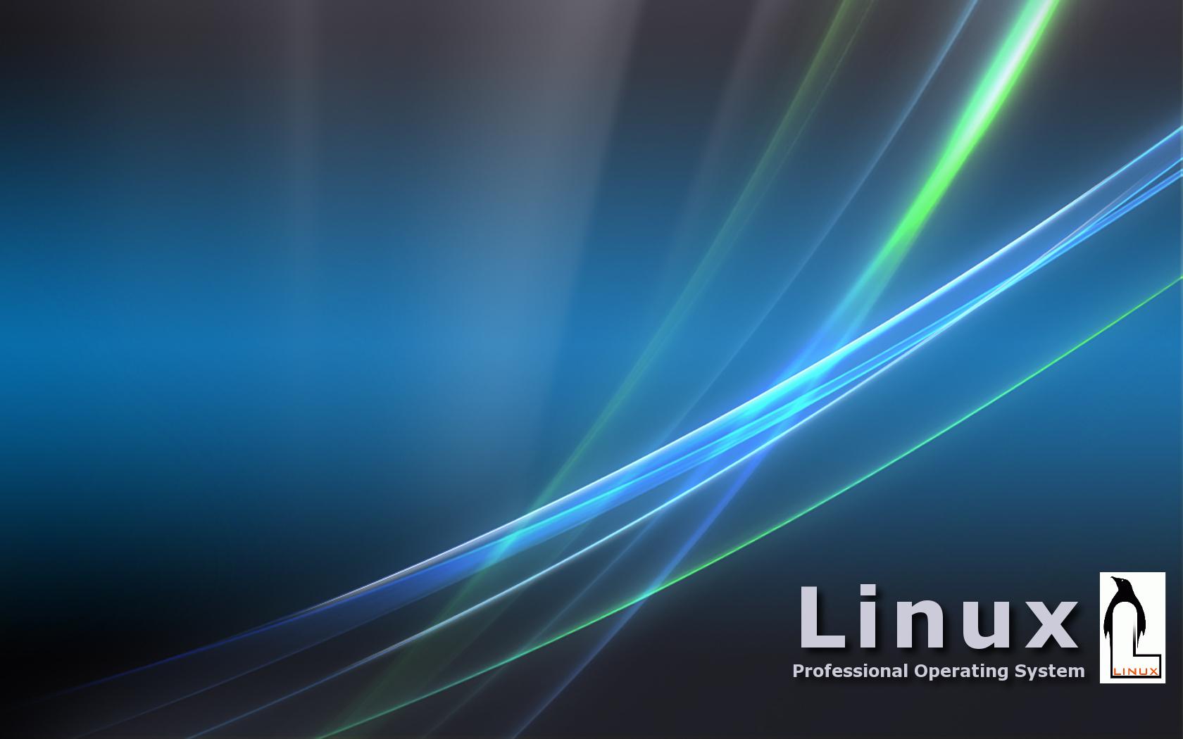 Desk top widescreen wallpaper Linux with Vista design 1680x1050