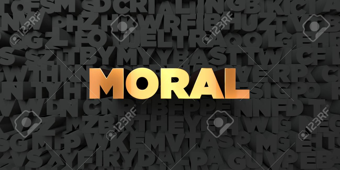 Moral   Gold Text On Black Background   3D Rendered Royalty 1300x650