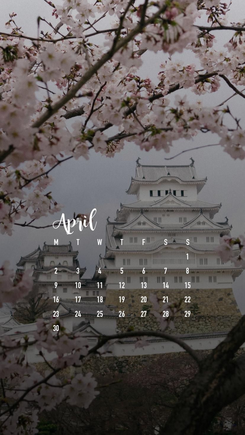 April 2018 Smartphone Wallpaper Calendar Download 828x1472