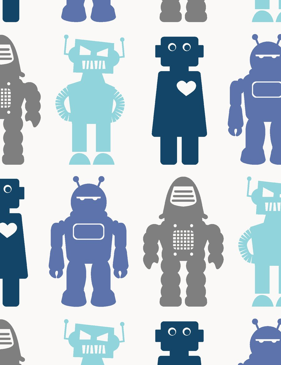 Robots Designer Wallpaper by Aime Wilder Made in the USA 900x1170