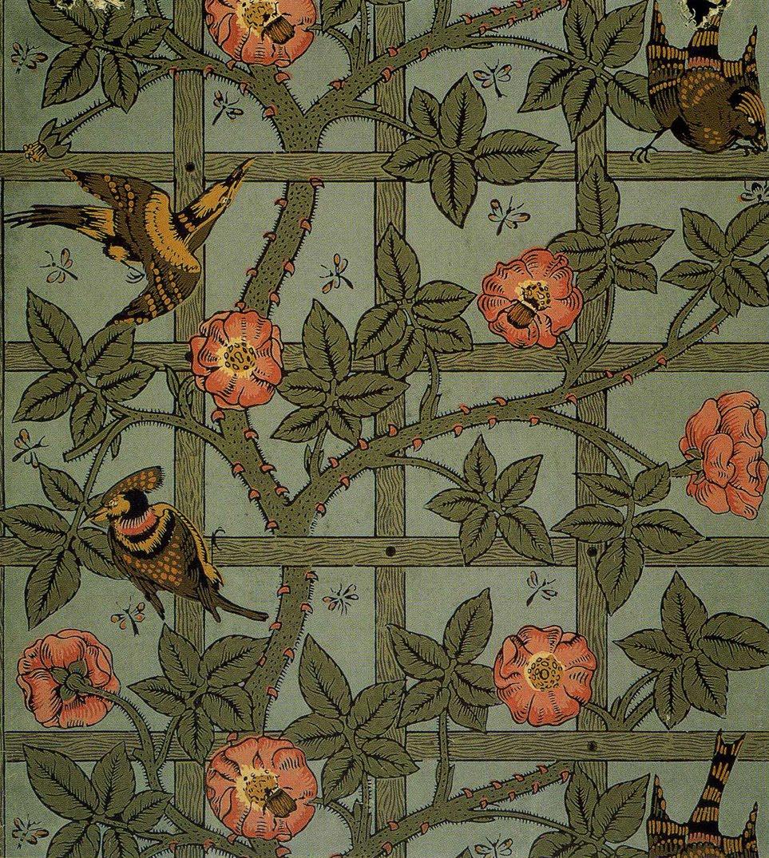 Illustration William Morris Trellis wallpaper design 1864 963x1075