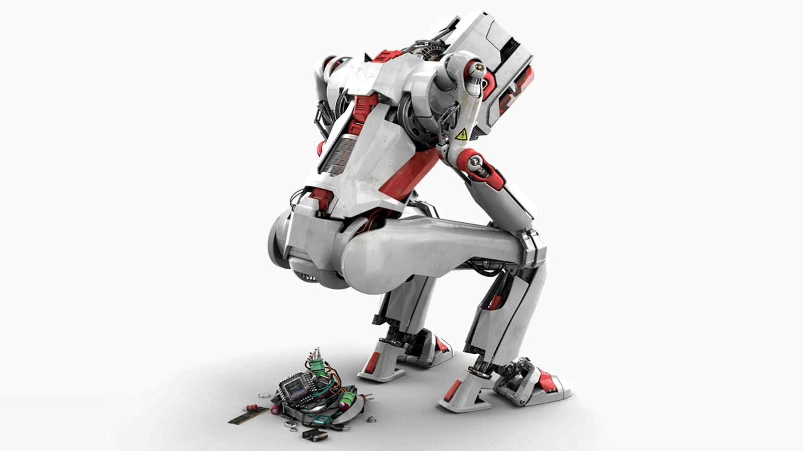 Robot White Parts sci fi humor sadic wallpaper background 1600x900