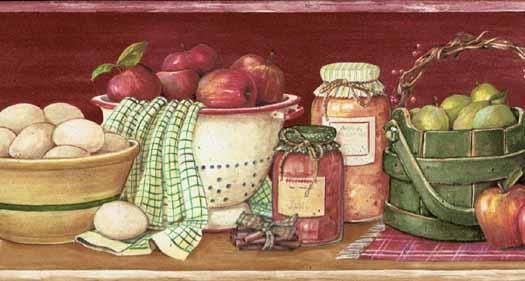 Kitchen Shelf Burgundy Wallpaper Border 525x281
