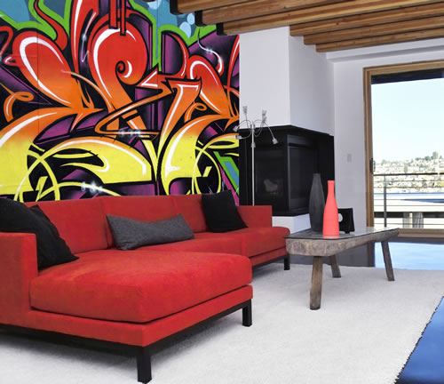 Wall Graffiti Mural displayed in contemporary home Using a solid L 500x432