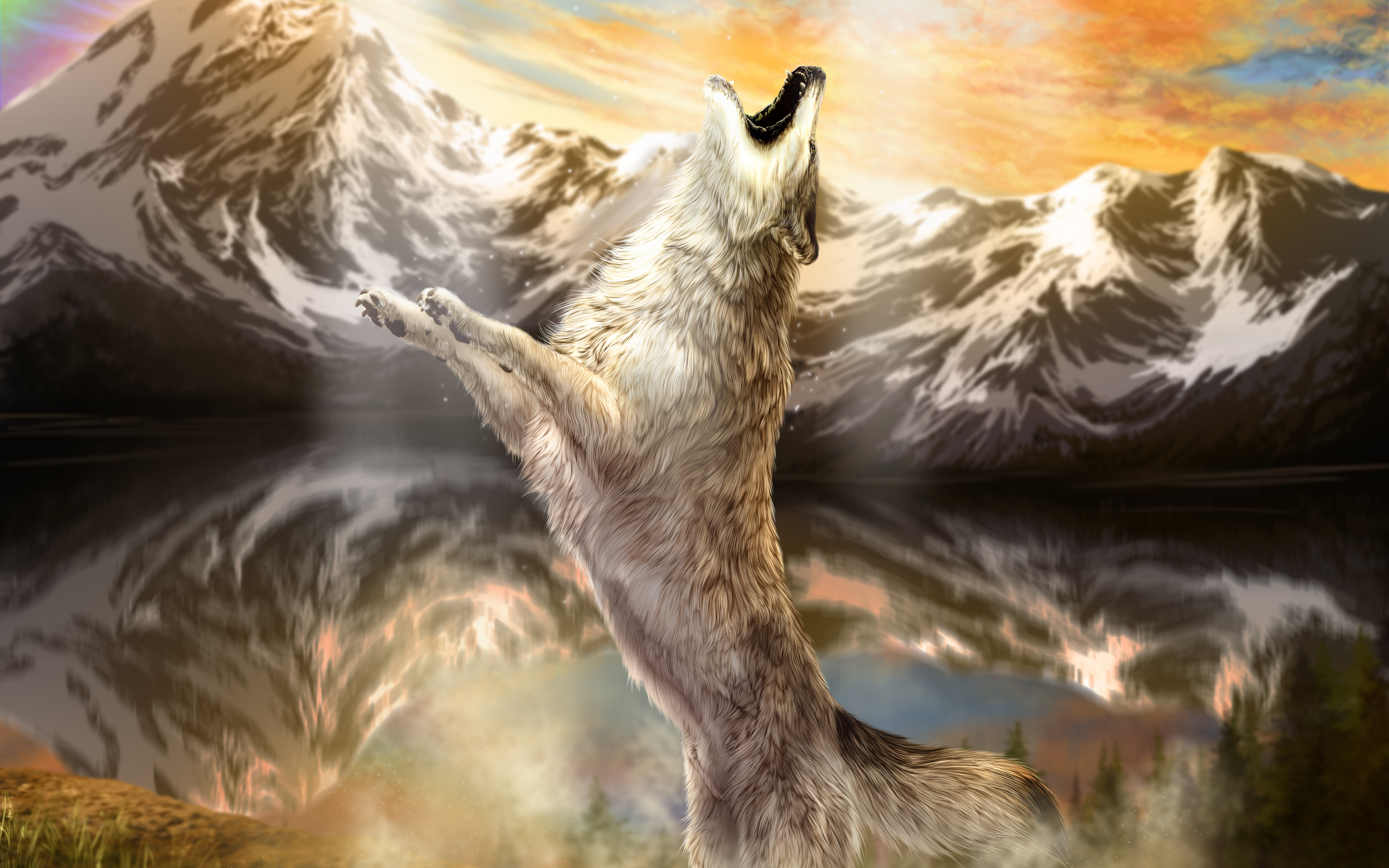 Wolves Mountains Painting Art Animals wolf wallpaper 4500x2813 4500x2813