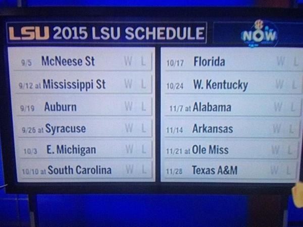 Jacques Doucet on Twitter LSU 2015 football schedule wafb httpt 600x450