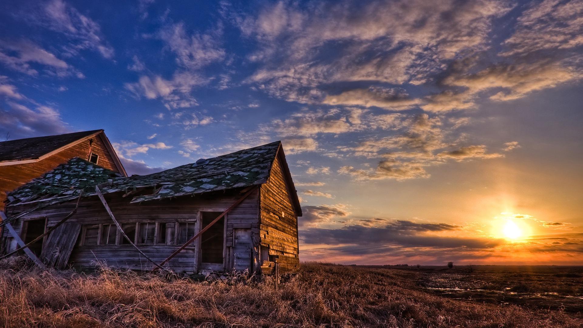 Old rusty farm house in sunset Full HD wallpaper Full HD Wallpapers 1920x1080