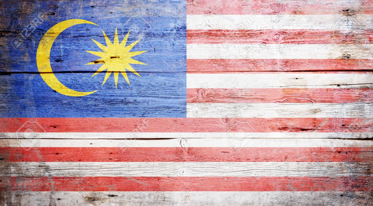 Flag Of Malaysia Painted On Grungy Wood Plank Background Stock 1300x719