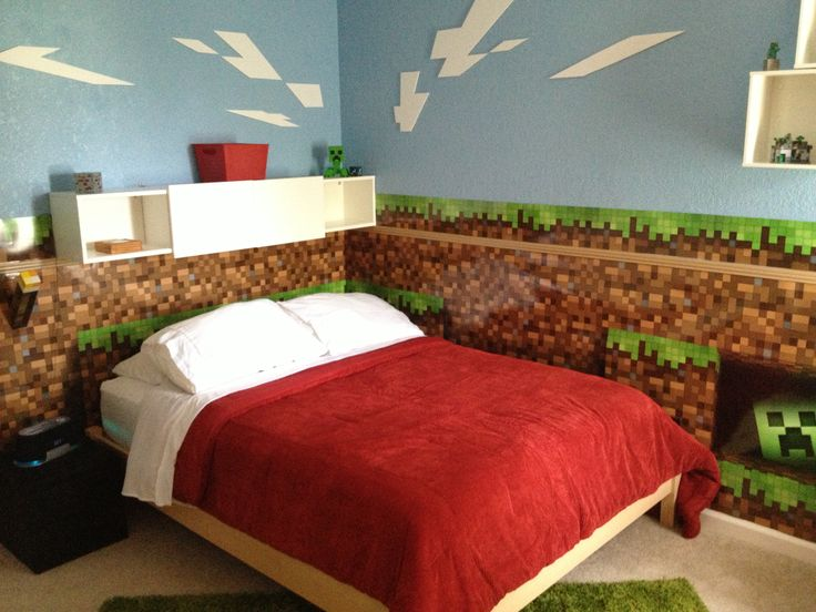 Minecraft Bedroom this is cool but Im just doing one wall 736x552