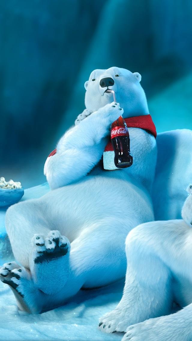 Eisbr Trink Coca Cola iPhone Hintergrundbilder 640x1136 iPhone 5 640x1136