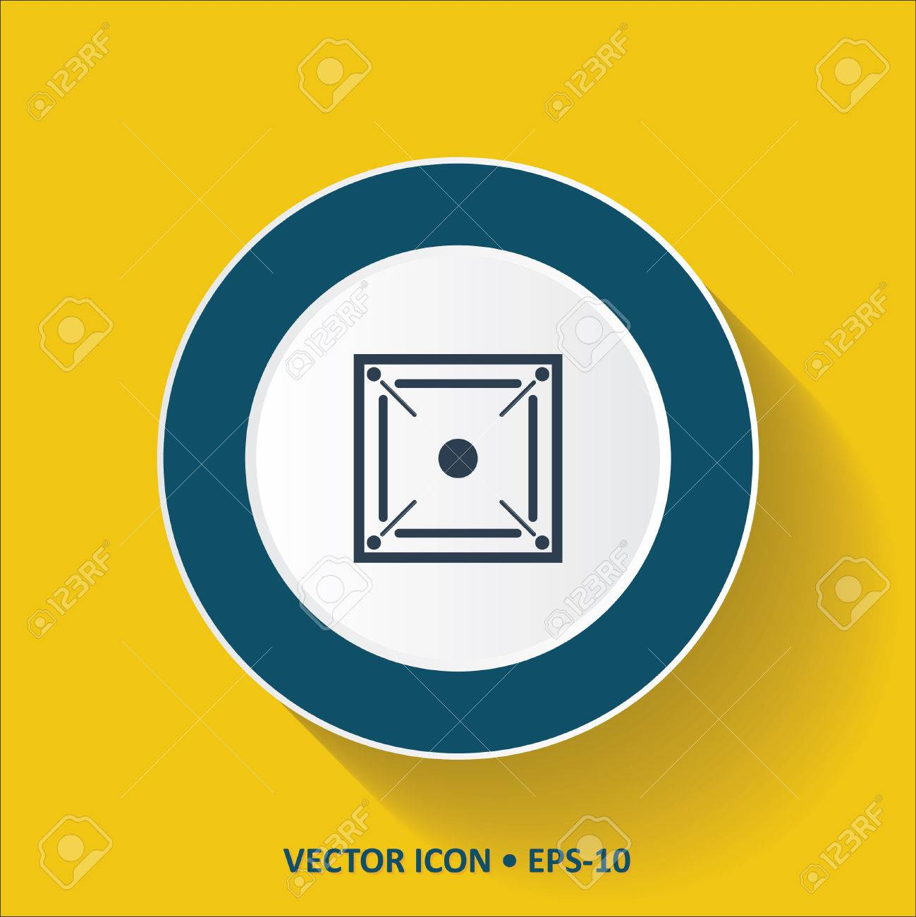 Blue Vector Icon Of Carrom Game On Yellow Color Background With 1299x1300