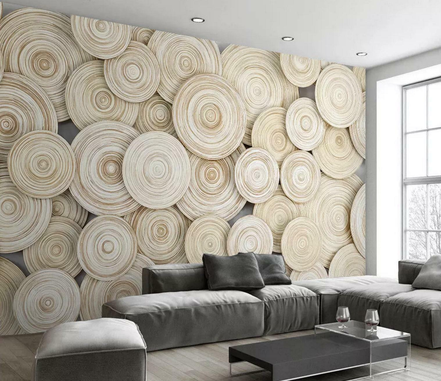 Annual Wood 3D Ring Wall AJ Indoor Decal Mural Wallpaper MXY 1518x1314