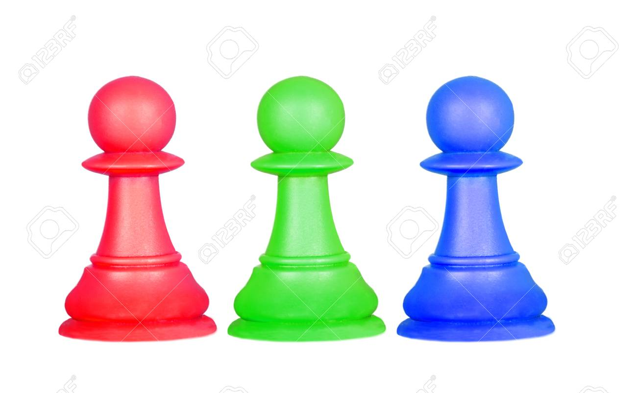 The Color Pawns Chess Pieces Isolated On A White Background Stock 1300x802