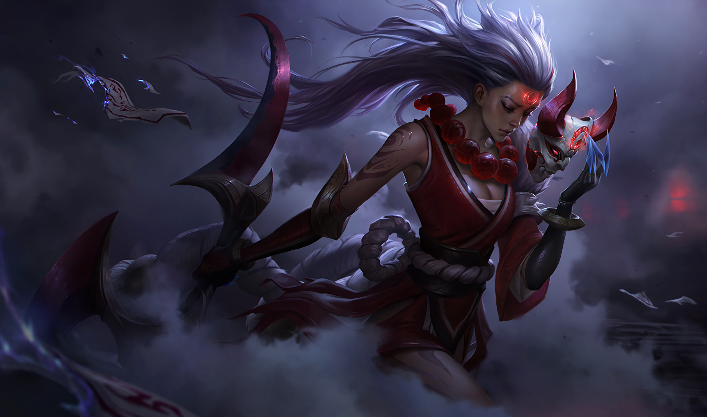 Upscaled Blood Moon Diana Splash art for your Desktop Background 2430x1434