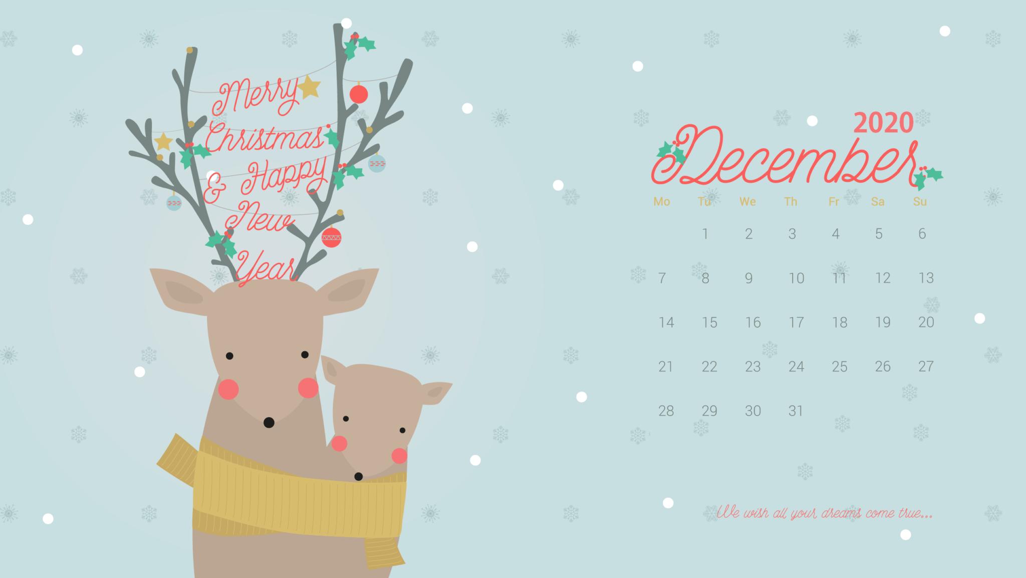 December 2020 Calendar Desktop Wallpaper 2048x1154