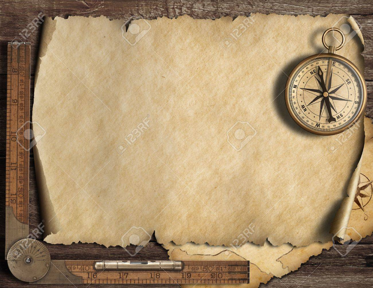 Old Blank Map Background With Compass Adventure Or Discovery 1300x1004