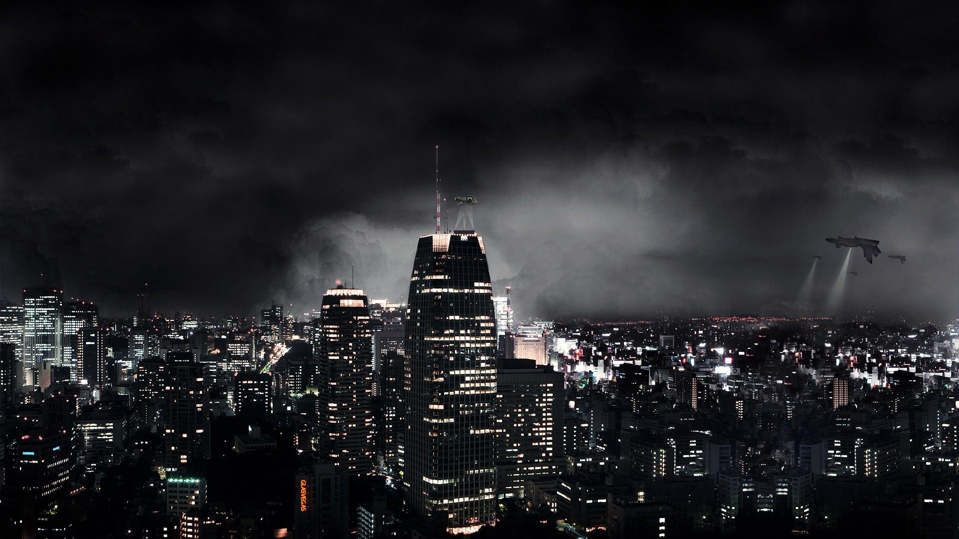 Dark city New York Skyscrapers High Quality WallpapersWallpaper 1920x1080