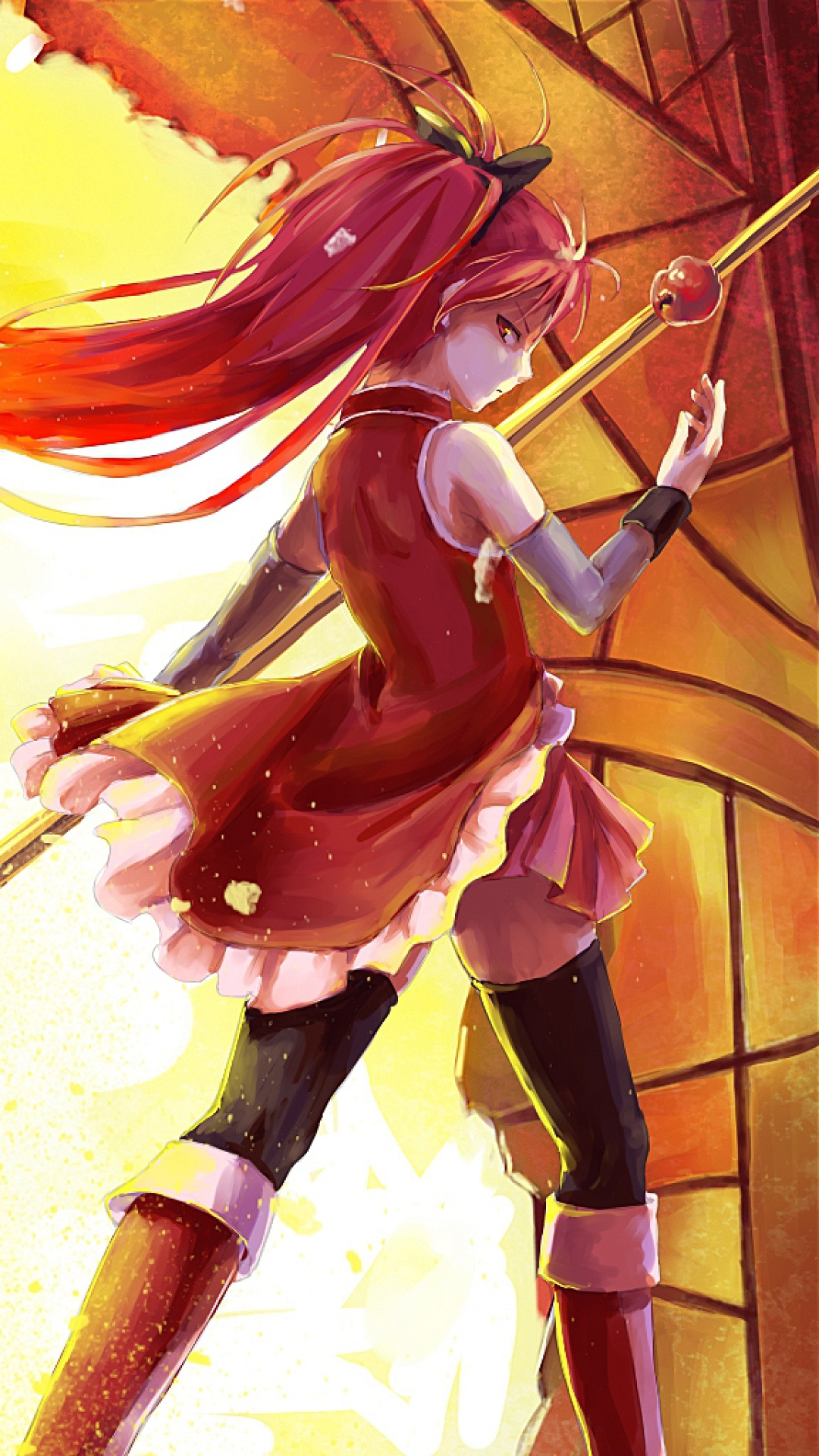 Download Wallpaper 1080x1920 anime girl arrow light flame Sony 1080x1920