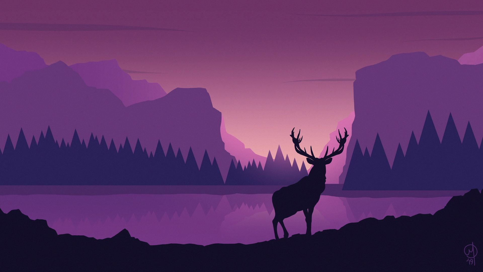 Download wallpaper 1920x1080 deer art vector mountains 1920x1080