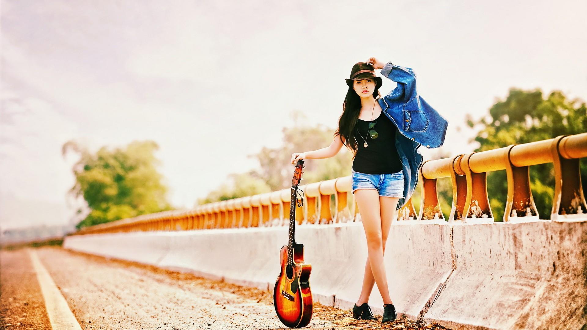 Guitar Girl   Wallpaper High Definition High Quality Widescreen 1920x1080