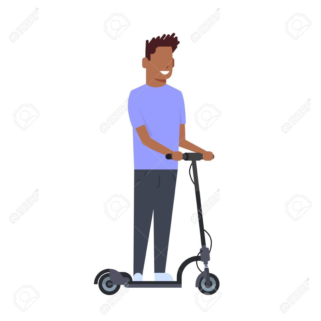 African Boy Riding Electric Kick Scooter Over White Background 1300x1300