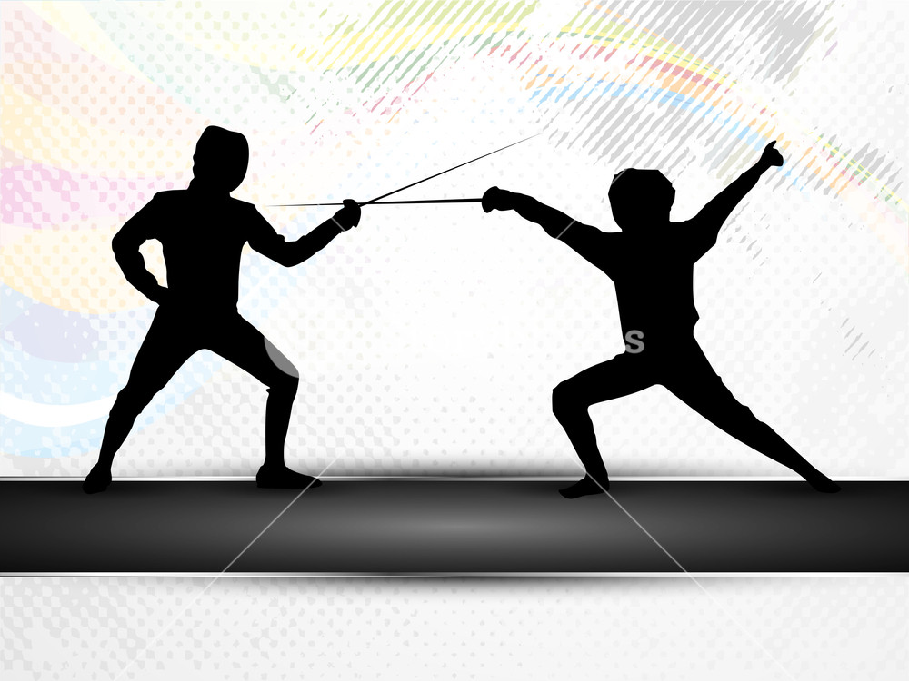 Silhouette Of Fencing Athletes Practicing On Abstract Grungy 1000x750