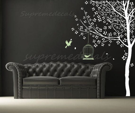 Tree Wallpaper Removable Wall Stickers Bird Wall Decal  Cool Big Tree 570x477