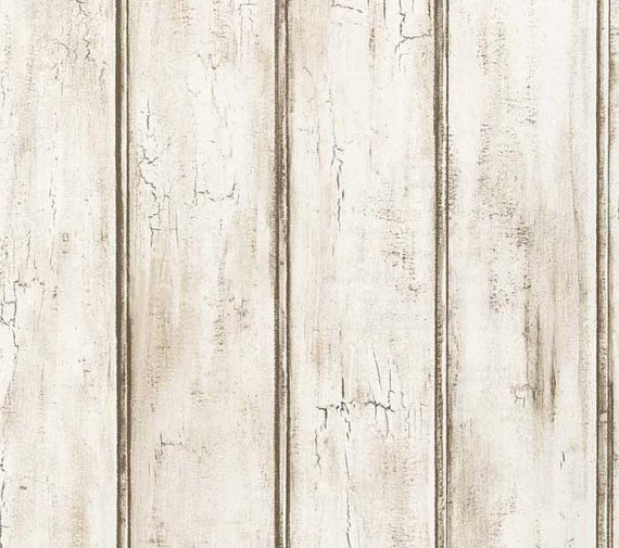 Distressed White Beadboard Faux Wood Wallpaper   Aged Brown Patina 570x505